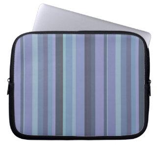 Blue-grey horizontal stripes laptop sleeve