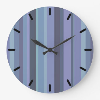 Blue-grey horizontal stripes large clock
