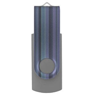 Blue-grey horizontal stripes USB flash drive