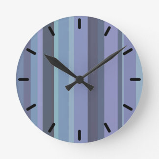 Blue-grey horizontal stripes wall clocks