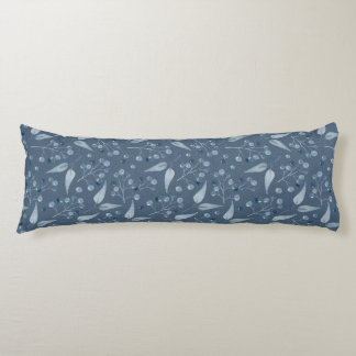 Blue-Grey Leafs & Berries Seamless Pattern Body Pillow