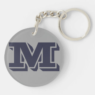 Blue Grey Monogrammed Custom Initial Monogram M Double-Sided Round Acrylic Keychain