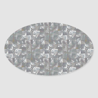 Blue-Grey Mother of Pearl Tile Pattern Oval Sticker