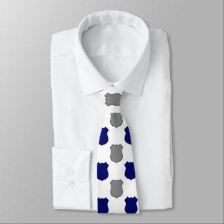 Blue grey police sheild pattern tie
