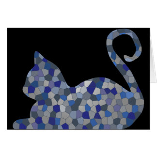 Blue Grey Relaxed Mosaic Cat Greeting Cards