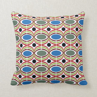 Blue Grey Retro Dots Throw Pillow