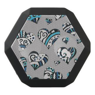 blue grey scribble hearts black bluetooth speaker