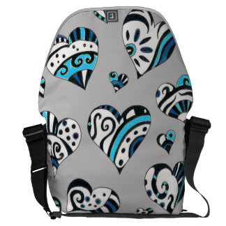 blue grey scribble hearts commuter bags