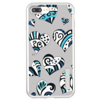 blue grey scribble hearts incipio DualPro shine iPhone 8 plus/7 plus case