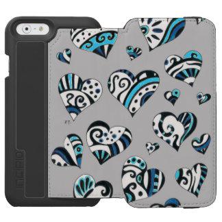 blue grey scribble hearts incipio watson™ iPhone 6 wallet case