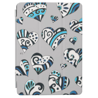 blue grey scribble hearts iPad air cover