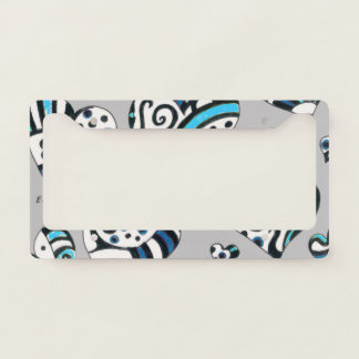 blue grey scribble hearts license plate frame