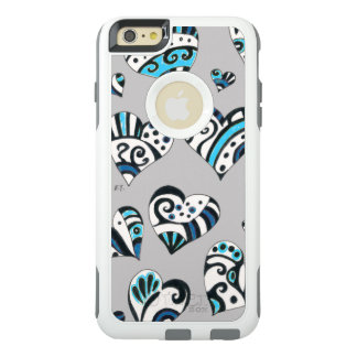 blue grey scribble hearts OtterBox iPhone 6/6s plus case