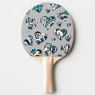 blue grey scribble hearts ping pong paddle