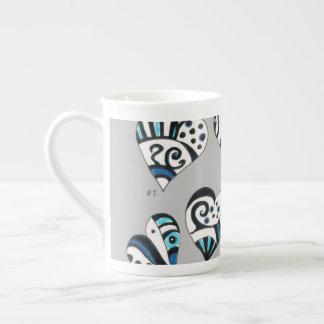 blue grey scribble hearts tea cup