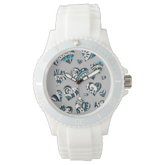 blue grey scribble hearts watch