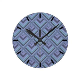 Blue-grey stripes scale pattern clock