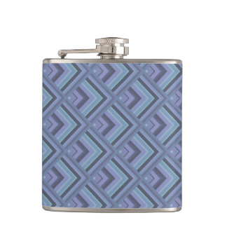 Blue-grey stripes scale pattern hip flask