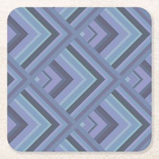 Blue-grey stripes scale pattern square paper coaster