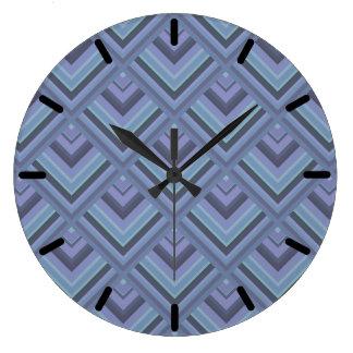 Blue-grey stripes scale pattern wall clock