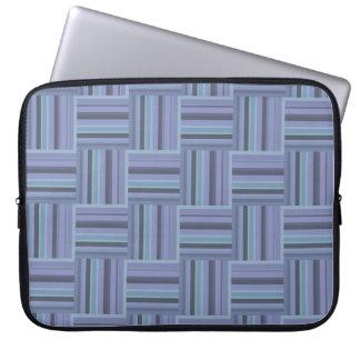 Blue-grey stripes weave pattern laptop sleeve