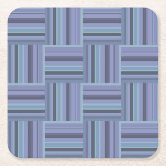 Blue-grey stripes weave pattern square paper coaster