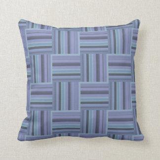 Blue-grey stripes weave pattern throw pillow