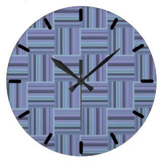 Blue-grey stripes weave pattern wallclock
