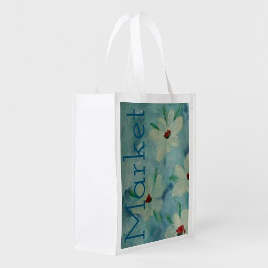 Blue Grey Stylish Floral Watercolor Reusable Grocery Bag