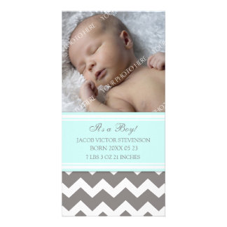 Blue Grey Template New Baby Birth Announcement