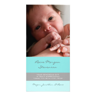 Blue Grey Thank You Baby Shower Photo Cards
