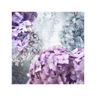 Blue Grey Vintage floral Hydrangea Flower pattern Canvas Print