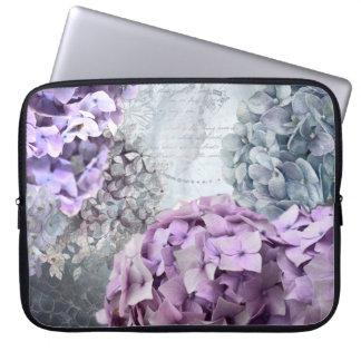 Blue Grey Vintage floral Hydrangea Flower pattern Laptop Sleeve