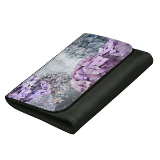 Blue Grey Vintage floral Hydrangea Flower pattern Leather Wallet For Women