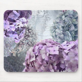Blue Grey Vintage floral Hydrangea Flower pattern Mouse Pad