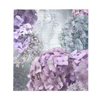 Blue Grey Vintage floral Hydrangea Flower pattern Notepad