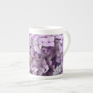 Blue Grey Vintage floral Hydrangea Flower pattern Tea Cup