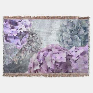 Blue Grey Vintage floral Hydrangea Flower pattern Throw Blanket