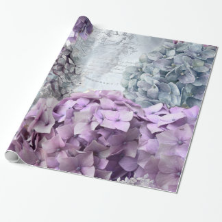 Blue Grey Vintage floral Hydrangea Flower pattern Wrapping Paper