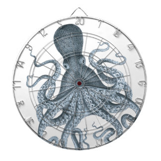 Blue Grey Vintage Octopus Illustration Dartboard