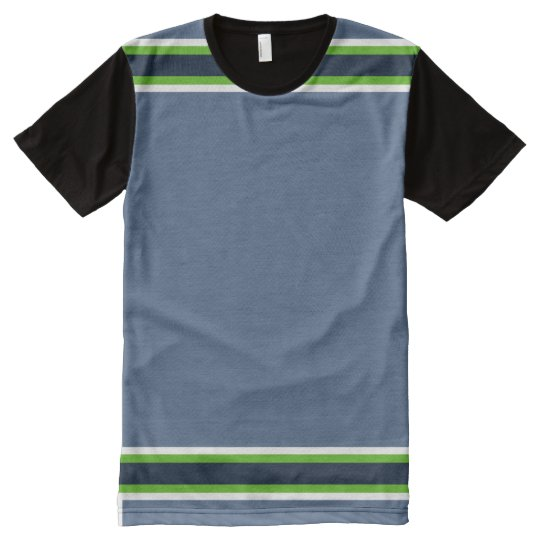 Blue-Grey with Neon and Navy Trim All-Over-Print T-Shirt