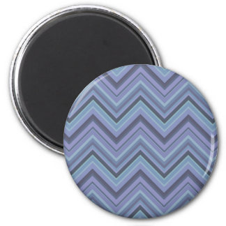Blue-grey zigzag stripes 2 inch round magnet