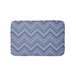 Blue-grey zigzag stripes bathroom mat