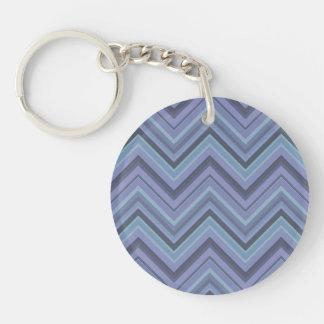 Blue-grey zigzag stripes Double-Sided round acrylic keychain