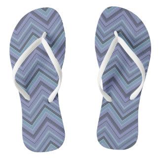 Blue-grey zigzag stripes flip flops