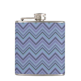 Blue-grey zigzag stripes hip flask