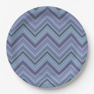 Blue-grey zigzag stripes paper plate