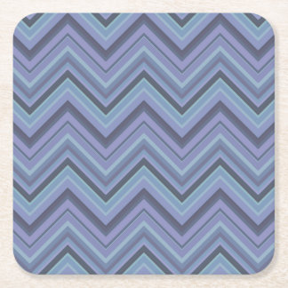 Blue-grey zigzag stripes square paper coaster