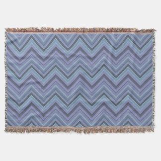 Blue-grey zigzag stripes throw