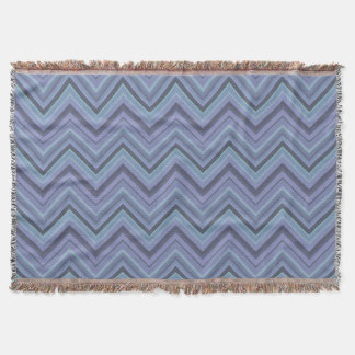 Blue-grey zigzag stripes throw blanket